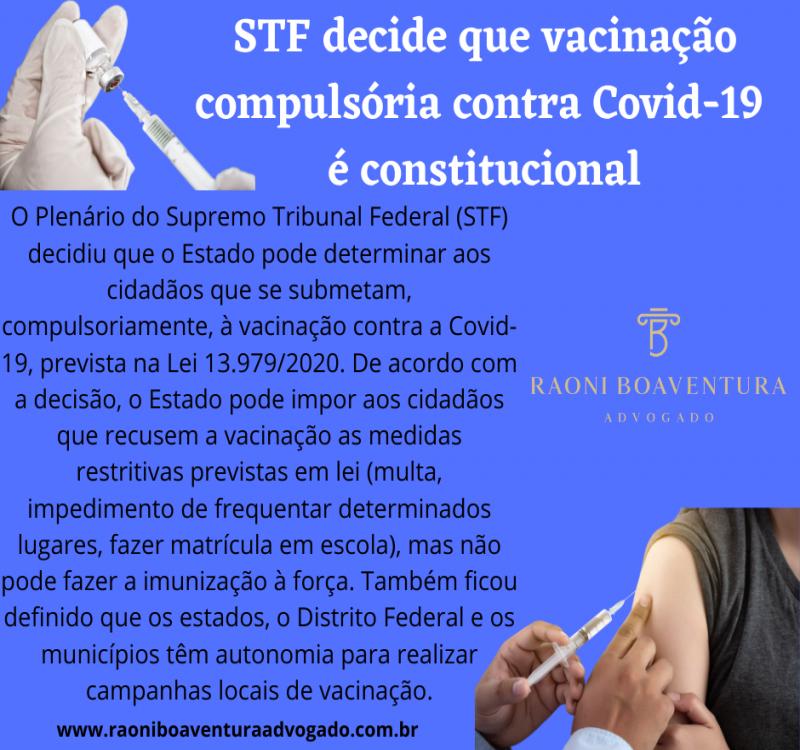 Vacinação obrigatória contra Covid-19 é constitucional
